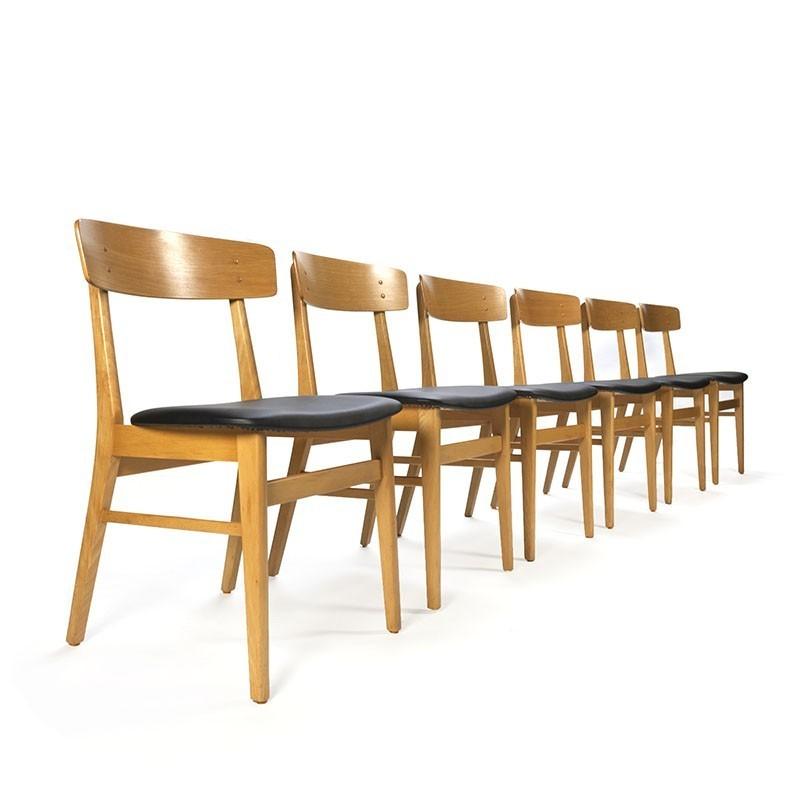 Deense vintage set van 6 eiken Farstrup stoelen Retro