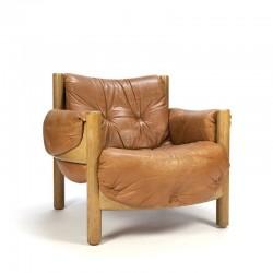 Vintage cognac leren fauteuil