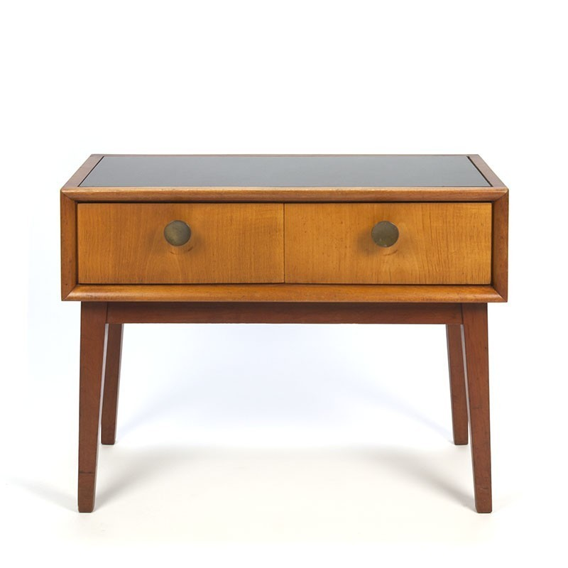 vintage small chest of drawers with glass top retro studio. Black Bedroom Furniture Sets. Home Design Ideas