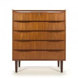 Vintage Danish teak dresser with 5 drawers