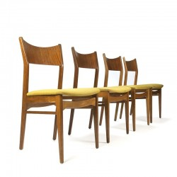 Danish vintage set of 4 teak dining table chairs