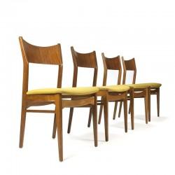 Deense vintage set van 4 teakhouten eettafel stoelen