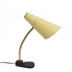 Vintage bureaulamp met gele kap vijftiger jaren