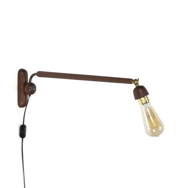 Deense teakhouten vintage wandlamp