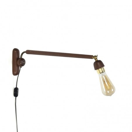 Danish teak vintage wall lamp