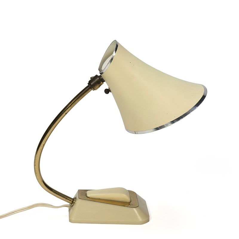 Vintage tafellamp jaren vijftig creme