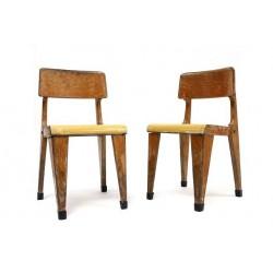 Set van 2 houten kinderstoeltjes jaren 50