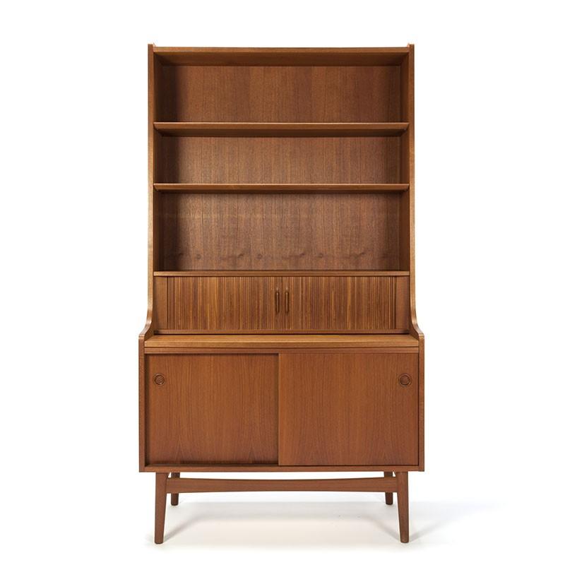 deense vintage teakhouten boekenkast secretaire