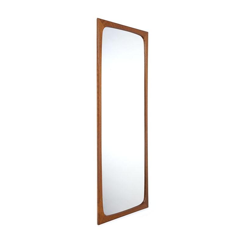 Grote Deense vintage teakhouten spiegel