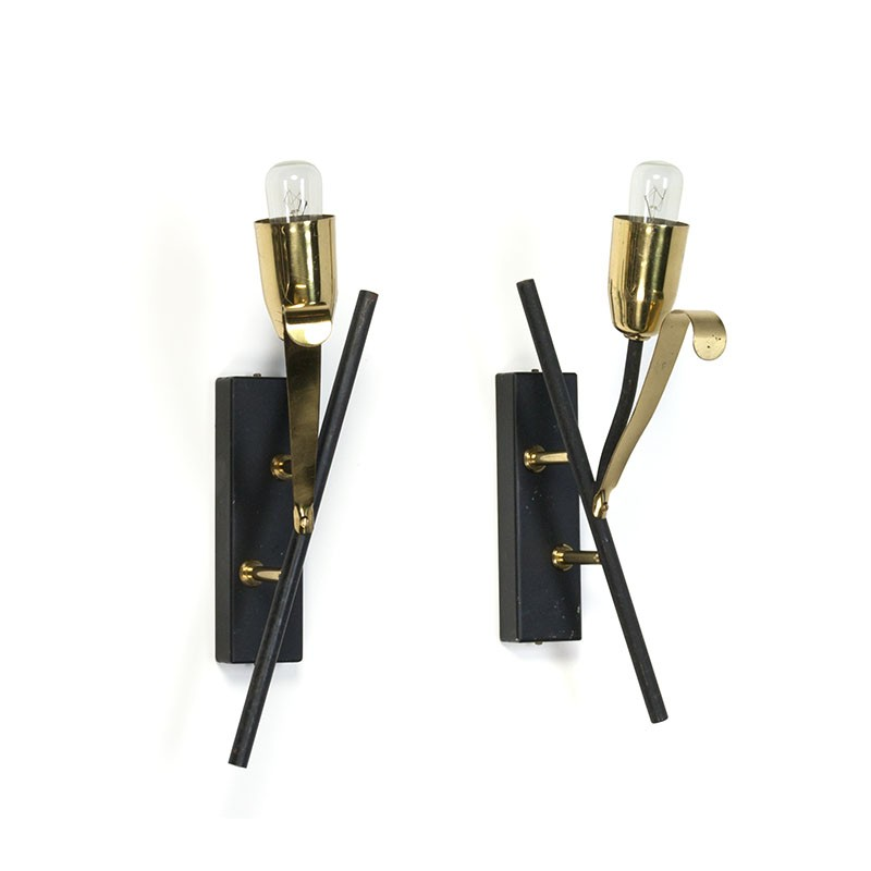 Vintage set of 2 brass / black wall lamps