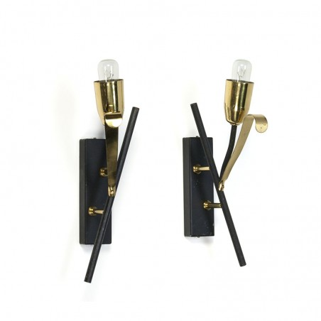 Vintage set van 2 messing/ zwarte wandlampen