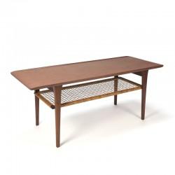 Teakhouten vintage Deense salontafel met rieten detail