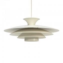 Deense vintage wit metalen hanglamp