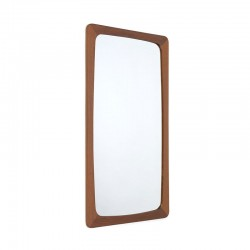 Teakhouten rechthoekige vintage Deense spiegel