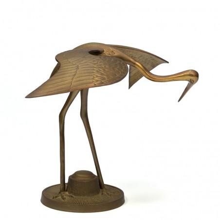 Groot model vintage kraanvogel in messing
