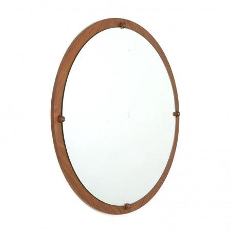 Ronde vintage teakhouten spiegel