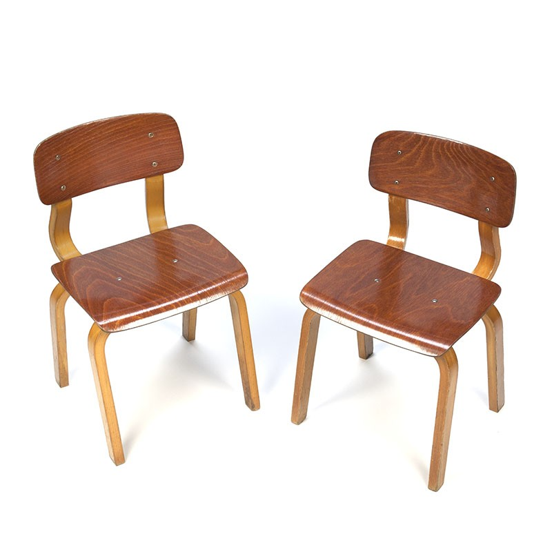 Vintage set of 2 plywood child chairs