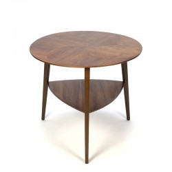 Small Danish vintage table with inlaid wooden top