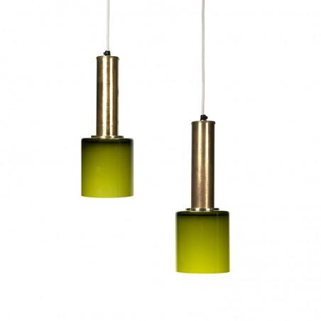 Deense set vintage hanglampen met groen glas