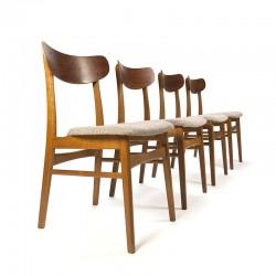 Vintage set van 4 Deense teakhouten stoelen