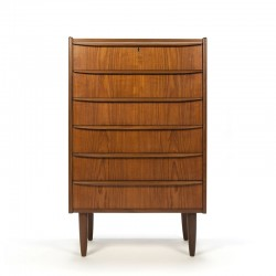 Teak Danish vintage chest of drawers with 6 drawers