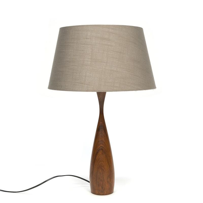 Deense vintage tafellamp met teakhouten voet