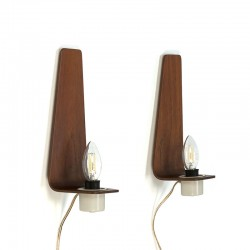 Danish vintage set of 2 plywood wall lamps