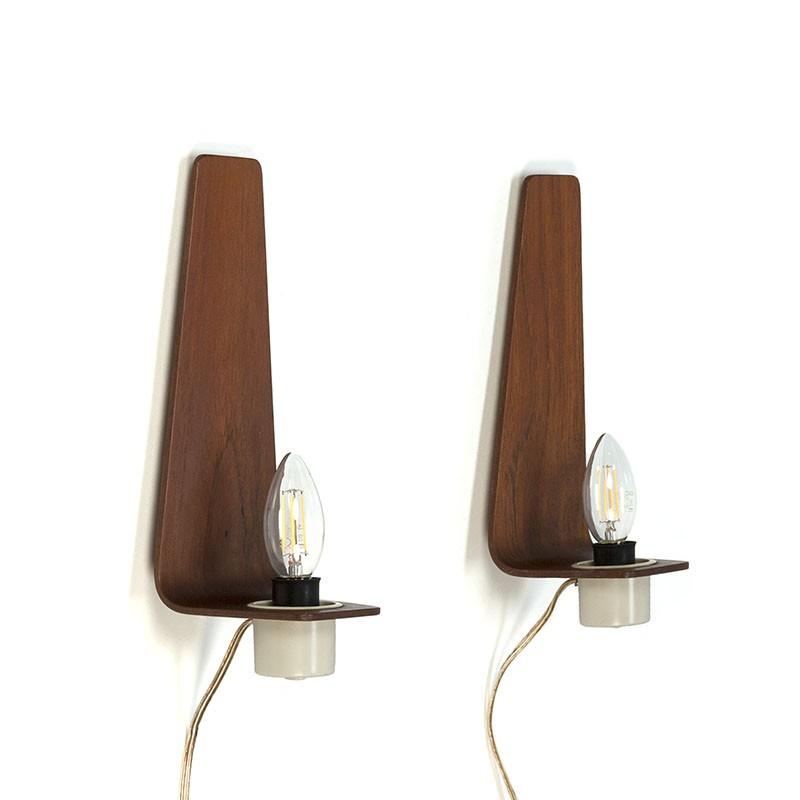 Deense vintage set van 2 plywood wandlampen