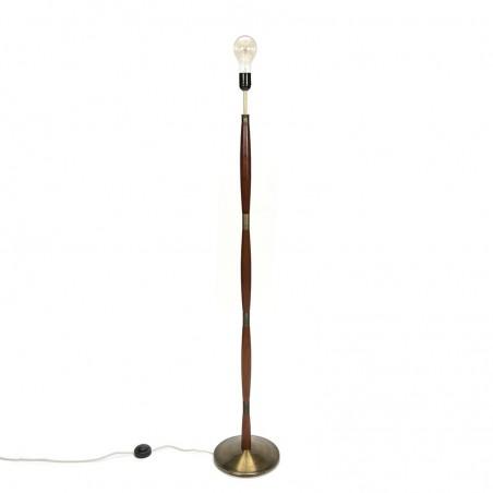 Vintage Deense vloerlamp met messing voet