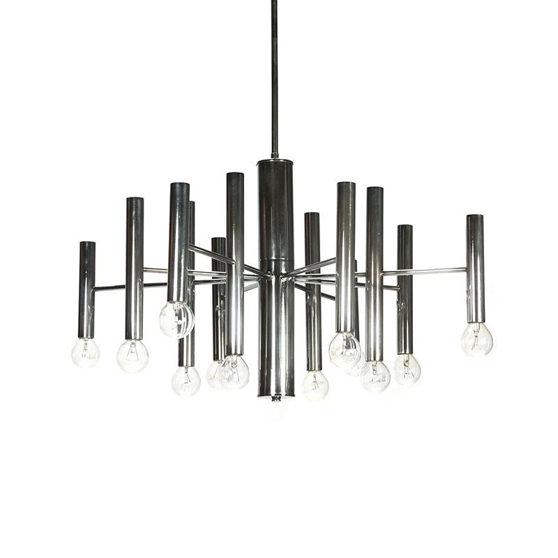 Vintage chromen hanglamp Sciolari stijl