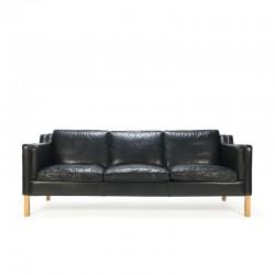Deense vintage Stouby design zwart leren 3-zits bank