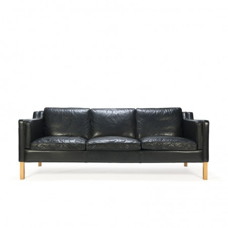 Danish vintage Stouby design black leather 3-seater sofa