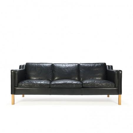 Zwart Leren Bankstel Tweedehands.Deense Vintage Stouby Design Zwart Leren 3 Zits Bank