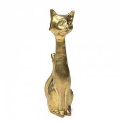 XL vintage messing sculptuur kat