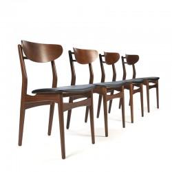 Set of Danish vintage teak dining table chairs
