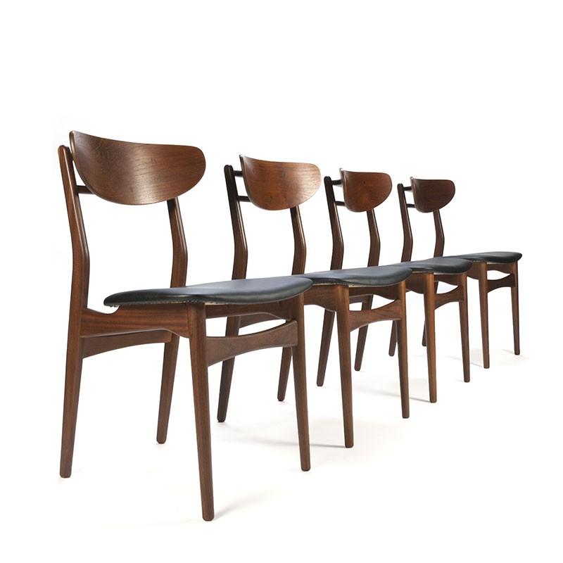 Set Deense vintage teakhouten eettafel stoelen