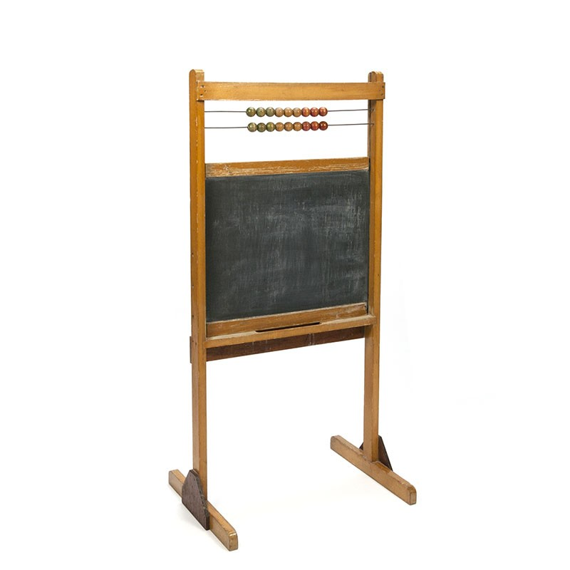 Vintage children's school chalkboard with abacus