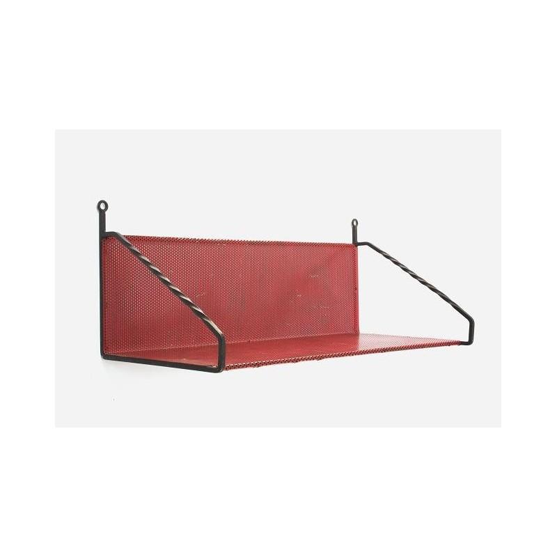 Rood metalen boekenplank geperforeerd metaal