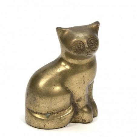 Messing kat vintage sculptuur