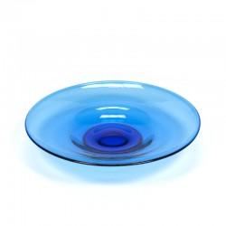 Vintage glazen blauwe fruitschaal