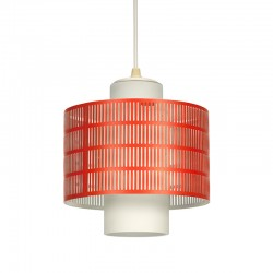 Vintage milk glass hanging lamp with perforated metal