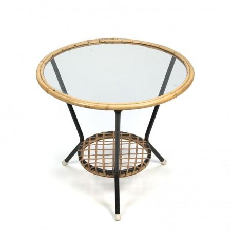 Vintage rond rotan tafeltje met glazen blad