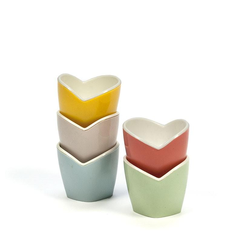 Set van 5 vintage pastel kleurige eierdoppen
