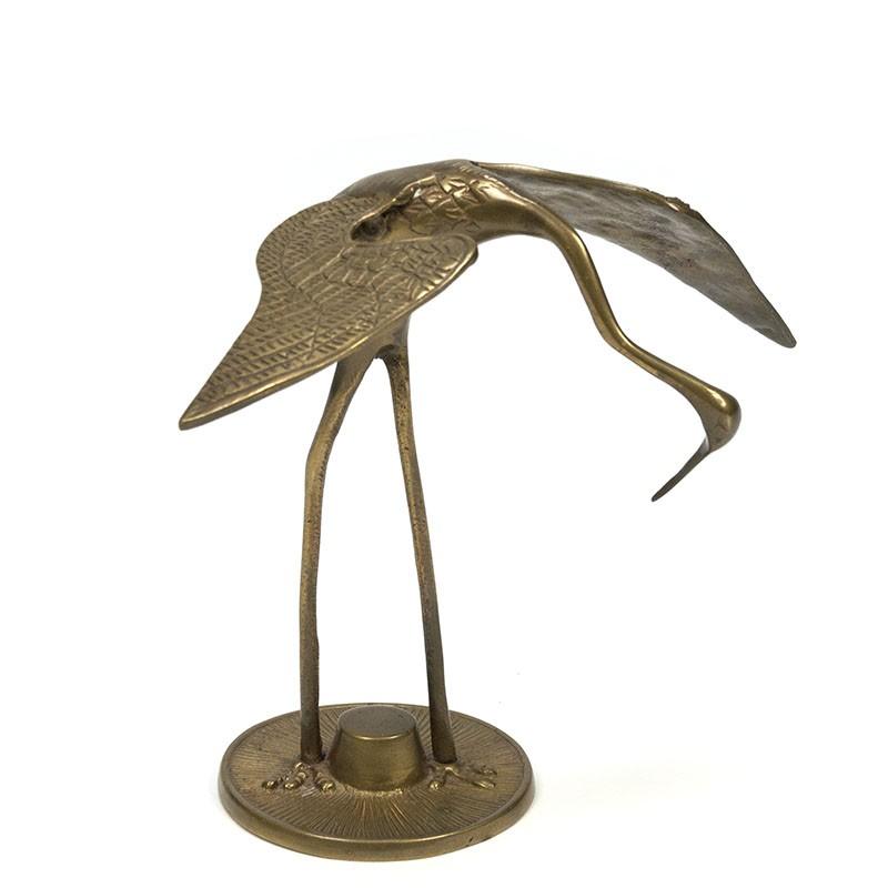 Vintage kraanvogel in messing