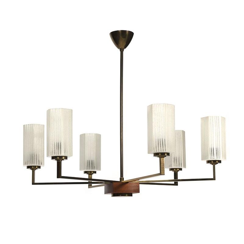 Vintage messing hanglamp met geslepen glas