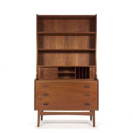 Teakhouten vintage Nexø boekenkast met 3 ruime lades
