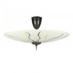 Grote vintage glazen vijftiger jaren plafondlamp