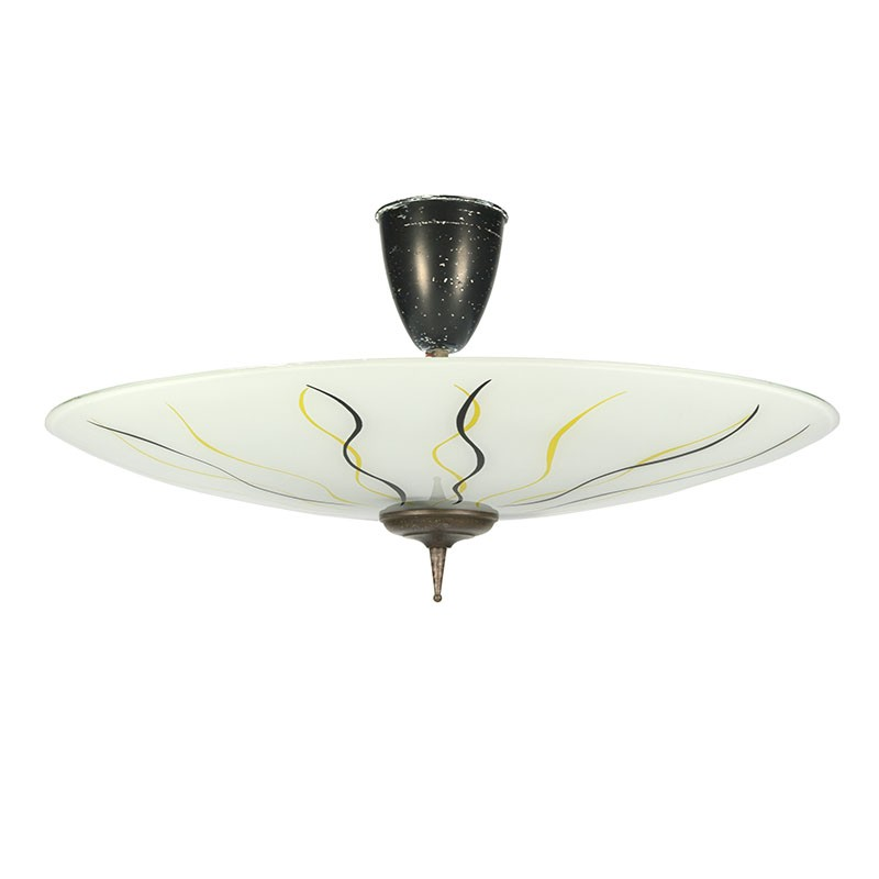 Large vintage glass fifties ceiling lamp