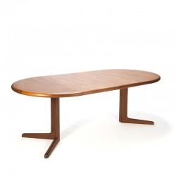 Teak vintage Danish round extendable dining table