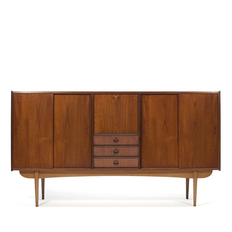 Large Model Danish Vintage Teak Design Highboard Retro